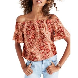 Madewell paisley off the shoulder blouse
